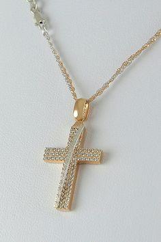 Βαπτιστικός σταυρός σε ροζ χρυσό με ζιργκόν και καδένα δίχρωμη διπλή, 14 καράτια, κορίτσι, κωδικός GS380 Crosses, Jewels, Jewellery, Orange, Fashion, Rings, Accessories, Moda, Jewelery