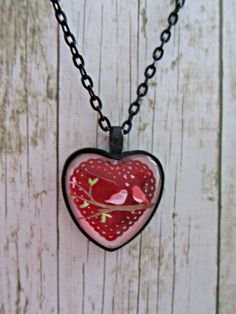 Red Heart Necklace, Valentine Necklace, Love Birds Jewelry,Valentine Jewelry,Red Heart Pendant,Love Birds Necklace,Necklace,Mothers Day Gift by BrownBeaverBeadery on Etsy