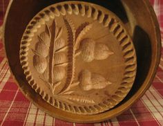 Antique American Turned Carved Wood Butter Mold Stamp Double Acorn Branch | eBay