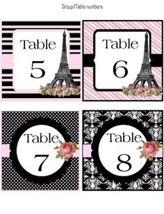 Group/Table number labels (classroom decoration) Paris Theme  $
