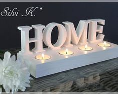 Tea light holder made of wood, L: 30 cm Cement Crafts, Metal Crafts, Wood Crafts, Freestanding Wooden Letters, Candle Packaging, House Plants Decor, Wood Candle Holders, Handmade Candles, Diy Home Crafts