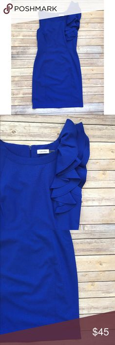"Calvin Klein | Blue Ruffle Shoulder Shift Dress 8 Chic Ruffle Shoulder Dress by Calvin Klein  Size 8  Very Good Condition  Underarm measures approximately 17"" Length measures approximately 37"" Calvin Klein Dresses"