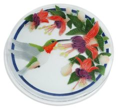 Peggy Karr Handcrafted Art Glass Ruby Throated Hummingbird Plate, Round, 11-Inch by Peggy Karr. $57.95. By Peggy Karr - functional art at its finest; handmade in the USA. Beautiful, functional, collectable 11-inch art glass plate. Food safe; dishwasher safe; great for entertaining. Ruby Throated design; each dish has its own unique character of surface texture and bubbles. Hand crafted art glass made from stencil layers of colored glass. The Peggy Karr 11-inch Rub...