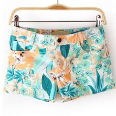 White Mid Waist Floral Straight Shorts