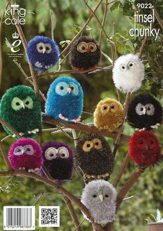 Owls in King Cole Tinsel Chunky, King Cole Dollymix and King Cole Merino Blend D. Owls in King Cole Tinsel Chunky, King Cole Dollymix and King Cole Merino Blend DK - Owl Crafts, Yarn Crafts, Easter Crafts, Christmas Crafts, Unicorn Crafts, Preschool Crafts, Chunky Knitting Patterns, Crochet Patterns, Pom Pom Animals