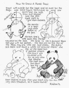 How to Draw Worksheets for The Young Artist: How to Draw a Panda Bear, Lesson And Worksheet