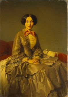 Portrait de Madame Abat d'Orlu, 1852by Jean Hégésippe Vetter (French 1820-1900) huile sur toile. © Musée des Augustins, Toulouse, photo Daniel MARTIN. 1850s Fashion, Edwardian Fashion, Victorian Paintings, Vintage Paintings, European Dress, Historical Women, 19th Century Fashion, Fashion Painting, Victorian Women