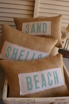 ORIGINAL...Petite Sea Glass and Starfish Beach Pillows, $40,00USD by myadobecottage