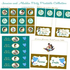 Jasmine and Aladdin Printable birthday party Collection cupcake toppers favors Thank you tags Water bottle & food table labels on Etsy, $20.00