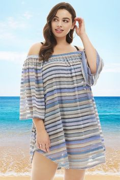 5962ff9feb Always For Me Bohemian Nights Off the Shoulder Plus Size Cover Up Blue -  Only Size 1X Left. Trendy Plus Size SwimsuitsPlus ...