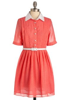 Midday Market Dress - Mid-length, Orange, White, Polka Dots, Buttons, Short Sleeves, Casual, Vintage Inspired, Buckles, Pleats, Shirt Dress, Print