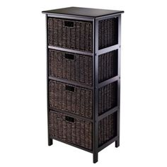 "Winsome Trading Omaha 4-Tier Storage Shelf with 4 Baskets in Black/Chocolate - BedBathandBeyond.com 17"" / $90"