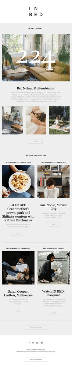 IN BED Journal: At home with Bec Nolan, Mullumbimby - Really Good Emails Email Template Design, Email Templates, Email Design, Web Design, Email Layout, Newsletter Design, Newsletter Ideas, Html Email, Email Marketing Design