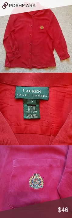 Red Lauren by Ralph Lauren button up shirt Red Lauren by Ralph Lauren button up shirt. Gold buttons.  Sleeves can be rolled and buttoned up.  Color is a deeper red than picture. Some very small spots, almost unnoticeable spots (see 4th pic). A very nice shirt. Lauren Ralph Lauren Tops Button Down Shirts