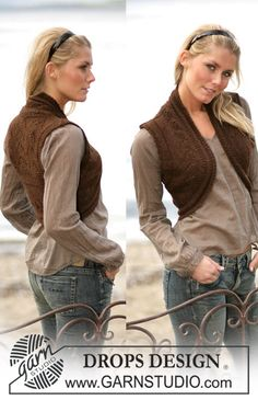 DROPS Vest with textured pattern in Alpaca