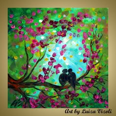 PINK CHERRY TREE and Love Birds-Modern Original Paintings for sale on canvas - $250.00