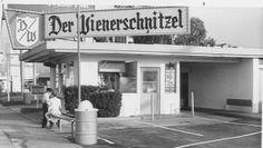 First Der Wienerschnitzel, symbol of L.A. car culture, now a landmark. Der Wienerschnitzel in 1961, the year it opened on Pacific Coast Highway in Wilmington, California.