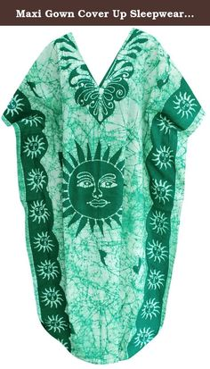 "Maxi Gown Cover Up Sleepwear Dresses Lounge Wear Caftan Cotton Batik Green L-4X Valentines Day Gifts 2017. Description:- ==> Welcome to LA LEELA ==> Enjoy Beach, Breeze and Nature with La Leela's ""VIBRANT BEACH COLLECTION"" and stay calm and classy! . ==> Fabric : 100% COTTON HAND MADE BATIK PRODUCT INDIVIDUALLY MADE AND IS UNIQUE US Size : From Regular 14 (L) TO Plus Size 30W (5X) ➤ UK SIZE : FROM REGULAR 14 (M) TO 32 (XXXXL) ➤ BUST : 58 Inches [ 147 cms ]➤ Length : 51 Inches [ 129 cms ]…"