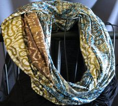 SALE Long Infinity Scarf turqoise gold brown by ScarfLadyDesigns, $26.10