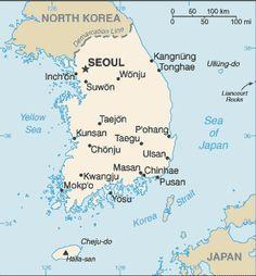 Map of china korea south japan taiwan yellow sea 1817 old south korea takes up the southern half of the korean peninsula bordering the western coast sciox Images