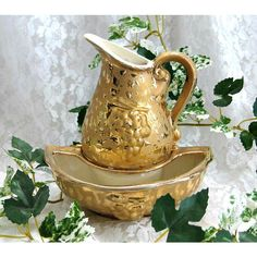 Collectible Pitcher Decor 24k Gold Pitcher Vase Elegant Hollywood... ($25) ❤ liked on Polyvore featuring home, home decor, ceramic wall vase, ceramic home decor, gold bowl, gold home accessories and ceramic bowl