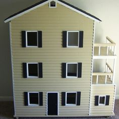 DIY Barbie House. The finished measurements are given, no plans were used when this was built.  This measures 5 feet tall.