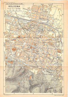 1940s City Map Bologna Italy by carambas