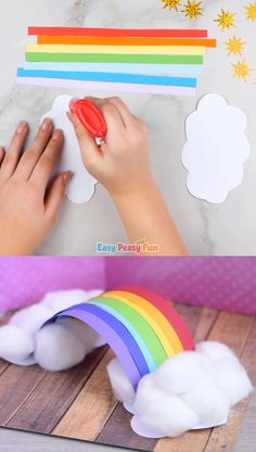 Simple Rainbow Paper Craft - Must do Crafts and Activities for Kids - We ado. - busenur - Simple Rainbow Paper Craft – Must do Crafts and Activities for Kids – We adore rainbows so - Paper Crafts For Kids, Easy Crafts For Kids, Crafts To Do, Preschool Crafts, Art For Kids, Crafts With Tissue Paper, Project For Kids, Simple Craft Ideas, Creative Ideas For Kids