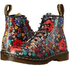 Dr. Martens 101 6-Eye Boot (Multi Wanderlust Softy T) Women's Lace-up... (140 BGN) ❤ liked on Polyvore featuring shoes, boots, ankle booties, dr. martens, ankle boots, multi, black lace up bootie, short boots, short black boots and black lace up boots
