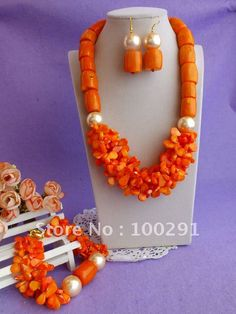 Free shipping ! drum and leaf bead orange full design Natural Coral Necklace Bracelet Earrings African Wedding Coral Jewelry Set $71.68