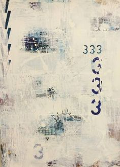 Buy Collage series no 3, a Paint on Canvas by Sarah Millerton from Sweden. It portrays: Abstract, relevant to: beautiful, blues, urban, white, calm, Scandinavian, airy, collage, cool, green, light, modern Architectural elements, typography and numerology mixed with urban aerial exploration