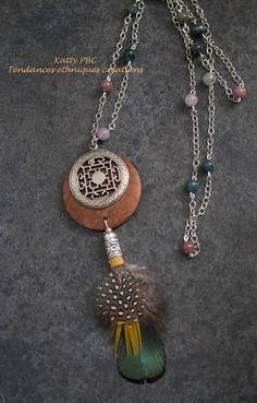 Sautoir ethnique pendentif et perles  Lamina par Tendancesethniques