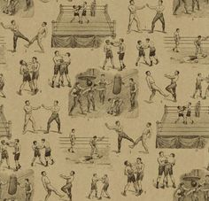 Queensbury (LW21/1) - Linwood Wallpapers - A digital wallpaper design featuring various hand drawn motifs of  Victorian style boxing scenes.