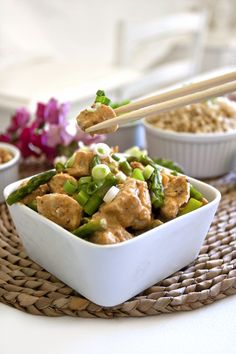 chicken with coconut-lime peanut sauce.