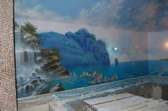 Custom swimming pool mural at a private residence. http://newart.okis.ru