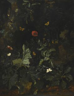 A Forest Floor Still Life with Flowering Plants and Butterflies, Nicolaes de Vree