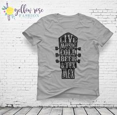 Texas Music Shirt - Live Music, Cold Drink & Tex Mex Women's Fashion Tee in White and Gray