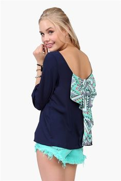 Waldorf Bow Blouse - Navy/Multi