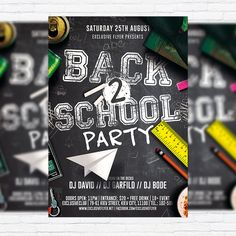 Back to School Party Vol.2 - Premium Flyer Template + Facebook Cover http://exclusiveflyer.net/product/back-to-school-party-vol-2-premium-flyer-template-facebook-cover/