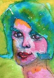 """Lady Loves Blue"" ATC watercolor."
