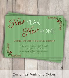 Moving Announcement / Change of Address Card - Christmas New Year, New Home - printable, digital file New Address Announcement, New House Announcement, Christmas And New Year, Christmas Cards, Change Of Address Cards, Moving Boxes, Moving Announcements, Sweet Home Alabama, Moving Tips