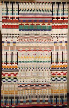 Gunta Stolzl's '5 chore' a hanging cotton, wool & silk hanging jacquard weave