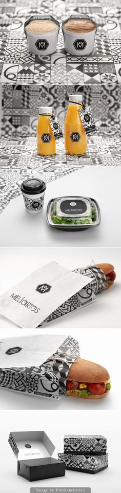 Meliartos fast food #packaging  identity is bold with stylish bw graphics