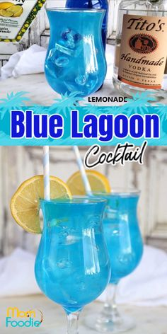 The Blue Lagoon cocktail is and easy blue drink featuring vodka, blue curaçao and lemonade. The lovely blue color is fun and exotic. Party Drinks Alcohol, Liquor Drinks, Alcohol Drink Recipes, Alcoholic Party Drinks, Fireball Recipes, Alcoholic Shots, Alcoholic Desserts, Punch Recipes, Beverages