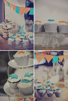 LOVE this baby shower...colors, bunting, sweets, croissants, table setup...totally cute and happy