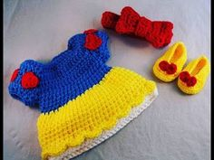 Tutorial How to Crochet Baby Snow White Dress (Size 0-3 months)