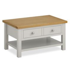 The Farrow Grey Painted Coffee Table with oak top and drawer is handcrafted from solid wood with dovetail joints. Wooden Living Room Furniture, Solid Wood Furniture, New Furniture, Painted Furniture, Painted Wood, Furniture Ideas, Painted Coffee Tables, Reclaimed Wood Coffee Table, Large Coffee Tables