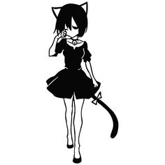 Girl Cat Cosplay Lost Way - Cartoon Decal Vinyl Removable Decorative Sticker for Wall, Car, Ipad, Macbook, Laptop, Bike, Helmet, Small Appliances, Music Instruments, Motorcycle, Suitcase -- Discover this special product, click the image : Wall Stickers and Murals for Home Decor