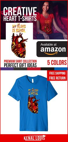 The following is a  collection of the most creative heart t-shirts you'll love. Each heart is  created with a unique art direction reflecting the different characteristics  and traits of the human heart. Own any of these beautiful heart artworks. They  are creative birthday gift ideas and more. All designs and artwork by Kenal  Louis All Rights Reserved. (Human Heart T-shirt, Heart T-shirts Design, Amazon  T Shirts) Head to Amazon to get this shirt today! #heartart #cooltshirts  #coolshirts Creative T Shirt Design, Tee Design, Afrocentric Clothing, Heart Artwork, Culture T Shirt, Creative Birthday Gifts, Black Artwork, Human Heart, Black Artists
