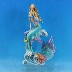 """13-1/2"""" Mermaid With Flowing Fins  $41.99 mermaidhomedecor.com - Mermaid Figurines"""